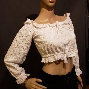 White lace off shoulders Crop Top Sz 10